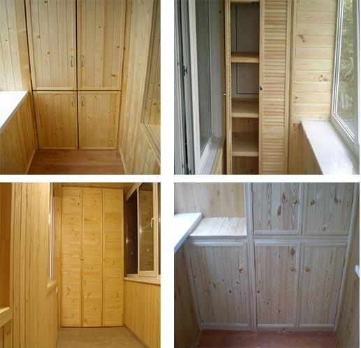шкафы из дерева для балкона