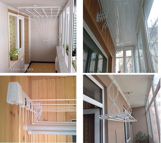 виды подвесных сушилок на балкон