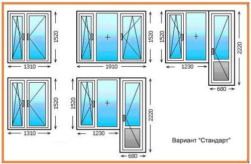 размеры балконных блоков