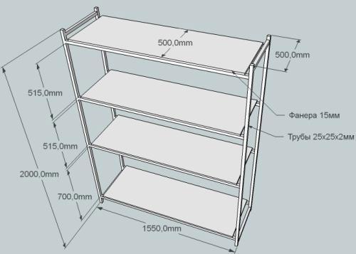 Схема металлического стеллажа