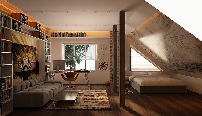 Комната для сна или гостиная на мансарде