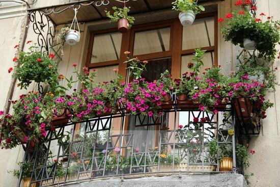 вариант декора кованого балкона