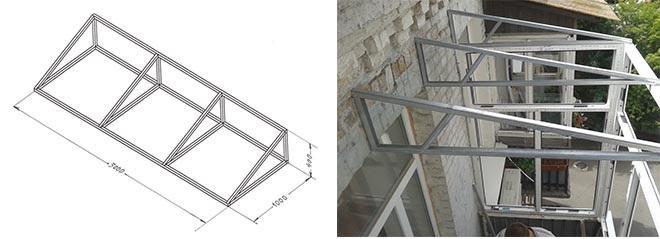 каркас козырька для балкона