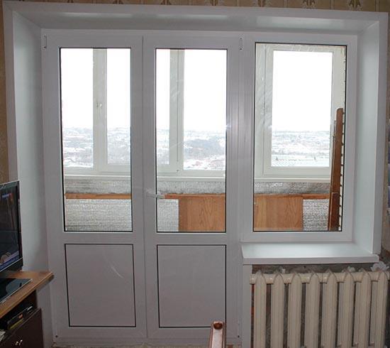 Двустворчатые балконные пластиковые двери