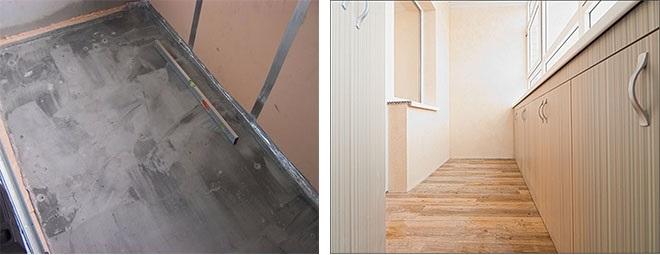 стяжка и отделка пола на лоджии или балконе